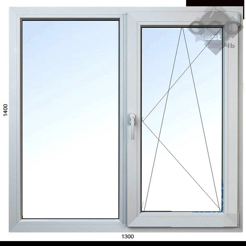 пластиковое двухстворчатое окно Керчь